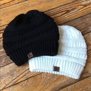 Accessories - Set of Winter Hats! Black and off white colored